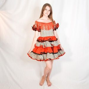 VINTAGE Circus Costume Ruffle Fringe Dress 00 XXS